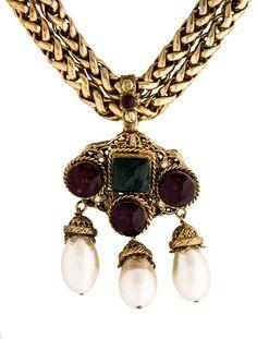 Chanel Gripoix & Pearl Pendant Necklace