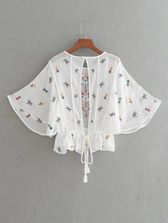 Flower Embroidery Open Back Tassel Tie Top -SheIn(Sheinside) Girls Fashion Clothes, Fashion Dresses, Clothes For Women, Crop Top Outfits, Cool Outfits, Fancy Tops, Baby Dress Patterns, Look Chic, Blouse Designs