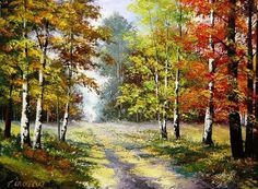 Autumn Forest Fall Landscape Original Oil Painting Impression Impasto EU Artist #ImpressionismImpastopaletteknifeart