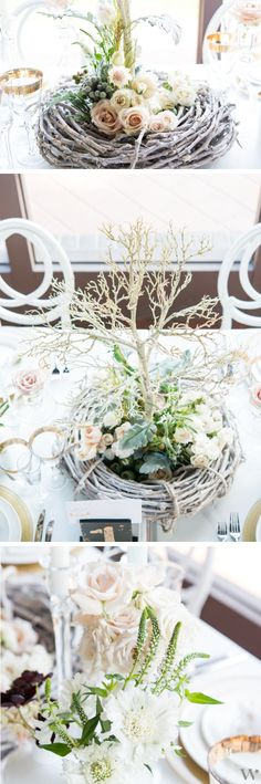 Woodland elements mixed with classic gold and white make a gorgeous yet natural tablescape for your wedding! Get more inspiration here: http://www.weddingstar.com/product/2014-weddingstar-magazine