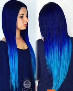 Da Blues  by @hairgod_zito. This electric blue hair color melt is a colorist's…