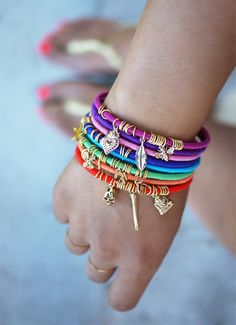 DIY Wrap Bracelet with Charms - wrapped brass bangles with charms