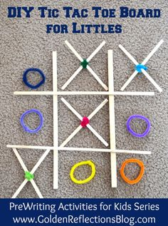 A fun and simple DIY tic tac toe game for toddlers and preschoolers! Part of the Pre-Writing Activities for Kids Series - www.GoldenReflectionsBlog.com