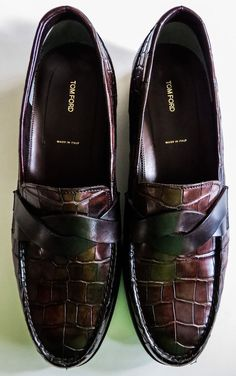 NIB $12540 TOM FORD Alligator Crocodile Leather Shoes Loafers US 10 EU 43 #TOMFORD #LoafersSlipOns