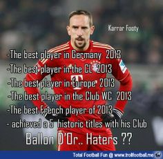Franck Ribery has won these awards this year !  http://www.trollfootball.me/display.php?id=15928  #football #soccer #Trollfootball #Ribery #BallonD'or #FIFA #Bayern