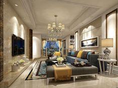 Family Living Room Restaurant Design | 3D Model