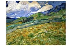 Giclee Print: Wheatfield and Mountains, c.1889 by Vincent van Gogh : 11x17in