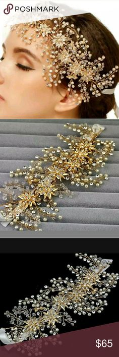 HOST PICK 4/20/17  Shinning Gold Crystal Headbands This is a gorgeous gold crystal beads floral bridal hair headband ribbon prom accessories Accessories