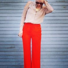 Look, summer casual- loving the red trousers and the shape