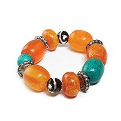 Beautiful bracelet made from colorful amber beads. Each bead has intricate designs. Elastic band fits most wrists. Made in India