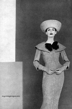 Harper's Bazaar February 1956 - Photo by Francesco Scavullo  Anne St. Marie wearing dress by Harvey Berin