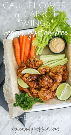 "Cauliflower and Carrot ""Wings"" + Cashew Cream Dip 