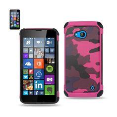 Reiko Design Hybrid Leather Protector Cover Nokia Lumia 640 Lte/ Microsoft Lumia 640/ Rm-1109 With Camouflage Design Pink