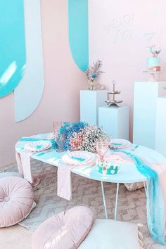 Take a look at this beautiful mermaid-themed birthday party! The table settings are gorgeous! See more party ideas and share yours at CatchMyParty.com