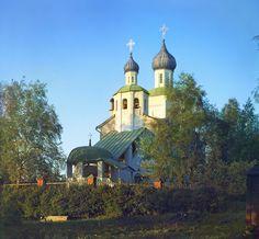 С. М. Прокудин-Горский. Бородинская церковь (на куполе пробоина). 1911 год