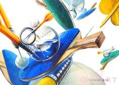 상명대학교 기초디자인 문제은행 연구작 안녕하세요!!! 평촌 원아트 미술학원입니다~ 저번 주가 수능이었는... Cool Art, Digital Art, Logo Design, Behance, Sketches, Watercolor, Drawings, Creative, Illustration