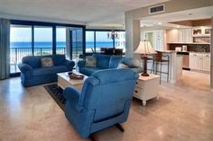 Great Views of the beach from the Living Area. Beachside One 4050 - 3 Bedrooom 2 bath - Sleeps 10.