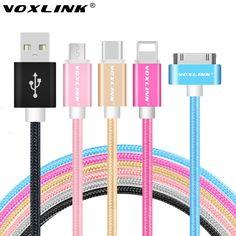 VOXLINK 마이크로 핀 핀 C 형 USB 케이블 충전 데이터 동기화 코드 아이폰 4 초 5 초 6 초 삼성 S7 화웨이 P9 LG G5
