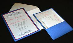 Red, white and blue panel pocket wedding invitations. Custom Wedding Invitations by Lucky Invitations | Chicago Letterpress