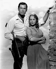 Clint Walker and Virginia Mayo in Fort Dobbs, 1958