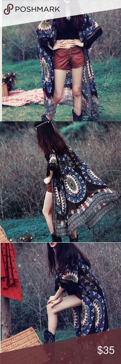 """Long tribal patterned kimono Super chic and cool. Nowt. Short sleeves decorated by tassels. I am 5'3"""", 126 lbs wearing M, reaching my lower calves Other"""