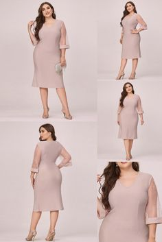 Sometimes an elegant dress is all you need to look great and if you are looking for one then here it is. This beautiful and elegant evening dress is made for mature women so they can look sultry and sexy. It features a V-neck and half sleeves that are made of net. The sleeves also has hot drill decoration which looks marvelous. Casual Work Dresses, Work Casual, Dresses For Work, Ever Pretty, Plus Size Casual, Half Sleeves, Plus Size Dresses, Drill, Looks Great
