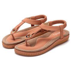 8b94c344c SOCOFY Comfortable Elastic Clip Toe Flat Beach Sandals Womens Summer Shoes