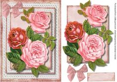 Beautiful roses on double lace frame  on Craftsuprint designed by Ceredwyn Macrae - A lovely card to make and give to anyone on there special day Beautiful roses on double lace frame a lovely card has one greeting tag left blank for your choice of words, - Now available for download!