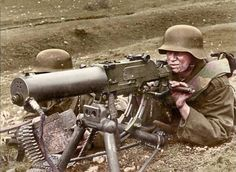 Royal Hungarian Honvéd machine gun team operating a Schwartzlose MG on the Eastern Front Colorized by Doug Banks. Ww1 History, History Photos, European History, Military History, Germany Ww2, Man Of War, War Dogs, World War One, German Army