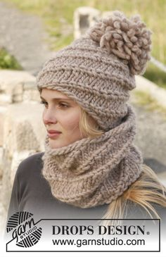 "Knitted DROPS neck warmer and hat with spiral pattern in ""Polaris"" or 2 strands ""Eskimo"". ~ DROPS Design"