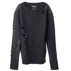 YEEZY BY KANYE WEST Destroyed wool sweater (8.020 BRL) ❤ liked on Polyvore featuring tops, sweaters, grey, distressed sweater, gray top, ripped sweater, destroyed sweater and ripped tops