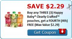 Save $2.29 Buy any THREE (3) Happy Baby® Clearly Crafted™ pouches, get a FOURTH (4th) FREE (Max Value $2.29)