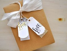 Simply Stamped: Folded Tags Dies, Good Times dots, Simply Stamped: Folded Tags Dies, Good Times dots, Make it Market Mini: Garden Gild love sentiment, black and gold ink (touch of adhesive on either side of the top hole keeps everything in place nicely.)