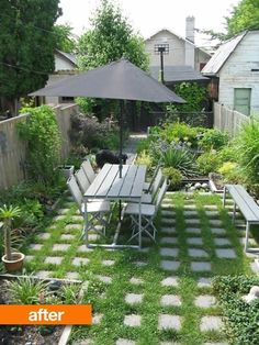 small garden; love the pavers with grass