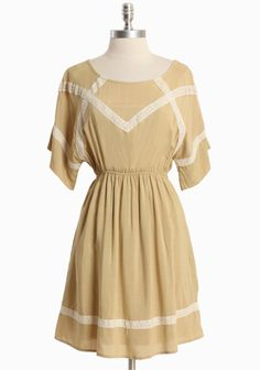 """Dear To Me Dress 44.99 at shopruche.com. Designed in a soft cotton blend, this camel colored dress is perfected with cream lace appliques, a ballet neck, and an elasticized waist for a charming silhouette. Partially lined.  Self: 75% Cotton, 25% Polyester, Lining: 100% Polyester, Imported, 34"""" length from top of shoulders"""