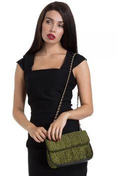 Voodoo Vixen Deco Coco Handbag Retro Black Velvet Clutch Purse Chain Strap #VoodooVixen #RetroHandbagClutch