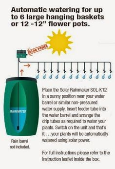 """The Flower House Solar """" RainMaker """" Automatic Watering System is a one of a kind item! This solar powered unit waters your plants. Drip Watering System, Automatic Watering System, Bonsai, Water Barrel, Tower Garden, Grow Bags, Grow Your Own Food, Raised Garden Beds, Raised Beds"""