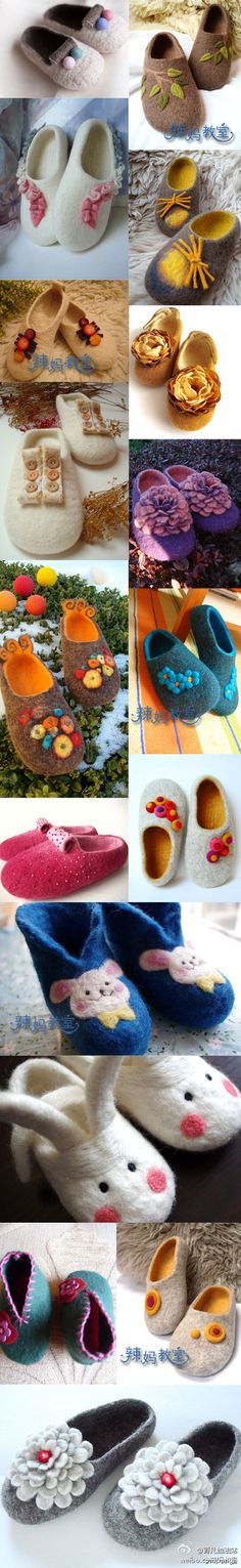 Felted slipper ideas                                                                                                                                                                                 More