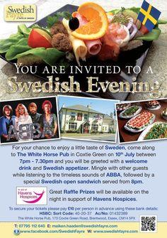 Flyer artwork for Swedish evening event.