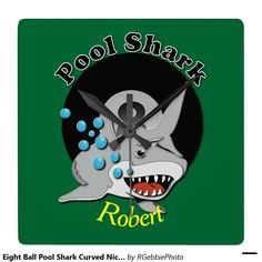 """Eight Ball Pool Shark Curved Nickname Square Wallclocks $38.35 Your Shark Name in yellow text on front. Eight ball from a Billiards set, rendered in 3D. """"Pool Shark"""" in bold letters above 8 ball with illustrated great white shark. Great for budding pool players and sharks alike! Great for league games and intimidation factor! League players, APA, UPA, BCA, or casual shooters will enjoy these gifts! See our store for more of our Billiards and Pool Shark designs!"""