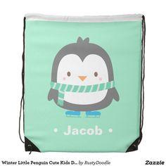 Winter Little Penguin Cute Kids Drawstring Bag