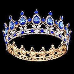 Stuffwholesale Gold Crown Luxury Stunning Teardrop Birthstone Tiara Princess Hair Accessories
