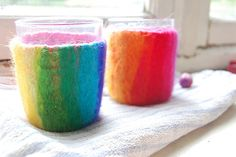 Felted Pots- wet felting around a glass