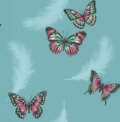 Butterflies Aqua & Pink wallpaper by Albany