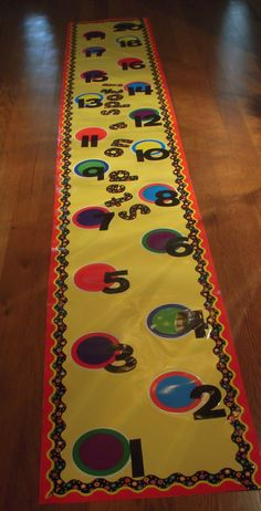 "Bulletin Boards can be on the floor.  This is a ""walk-on"" number line"
