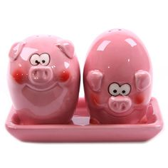 Pink Pig Ceramic Salt and Pepper Shakers ...