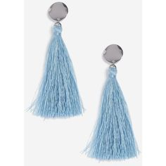 Topshop Pastel Blue Stud and Tassel Earrings (265 HNL) ❤ liked on Polyvore featuring jewelry, earrings, blue, blue jewelry, blue tassel earrings, stud drop earrings, tassel drop earrings and silver jewelry