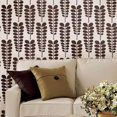 Stencils Modern Wall Decoration With Flowers