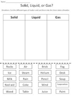 Solid Liquid And Gas Worksheet Free Worksheets Library | Download ...