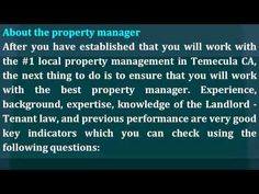 http://www.RealtyWrks.com/ - Get only the best Temecula CA property manager. You can screen and choose the best one for you by asking these important questions listed. Call me, Sidney Kutchuck, today at 951-217-6745, and have an expert Temecula CA property manager by your side.
